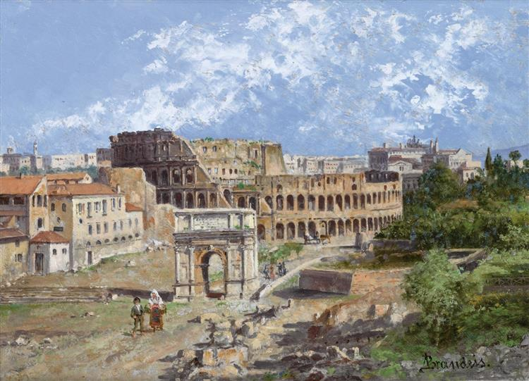 View of the Colosseum and the Arch of Constantine - Antonietta Brandeis