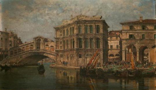 Most Rialto a Palác Camarlenghi V Benátkách, 1910 - Antonietta Brandeis