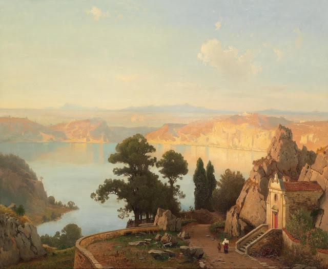Vista Do Lago Nemi, Perto De Roma - Carl Gustav Rodde