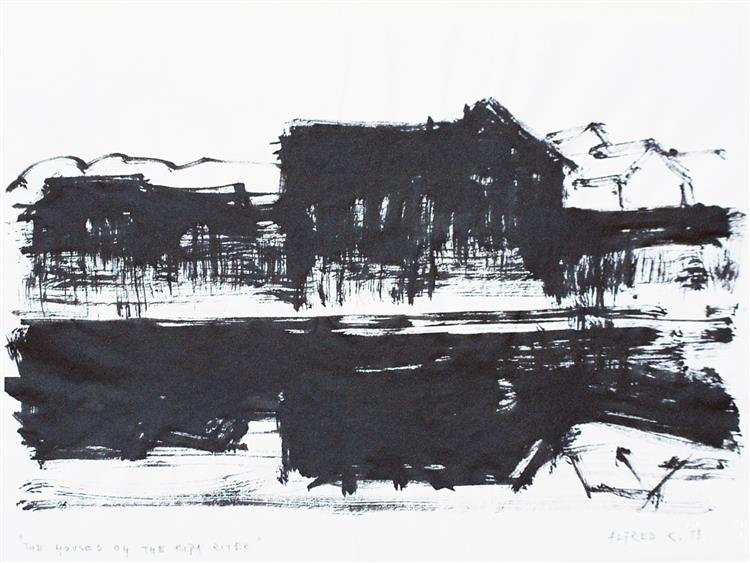 Old houses at the bank of the Kupa river, 1999 - Alfred Freddy Krupa