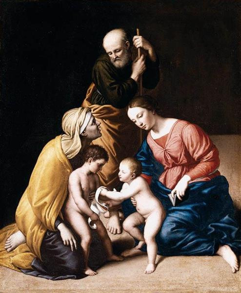 Holy Family with the Infant St John the Baptist and St Elizabeth - Джованни Баттиста Сальви