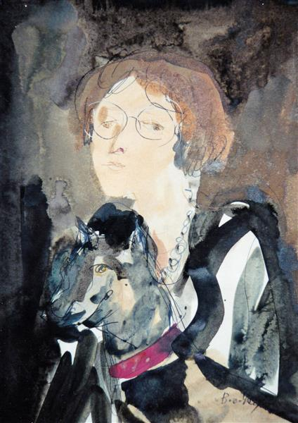 Girl with dog, c.1996 - Maria Bozoky