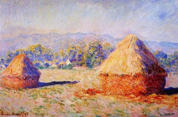 Grainstacks in the Sunlight, Morning Effect, 1890 - 1891 - Claude Monet