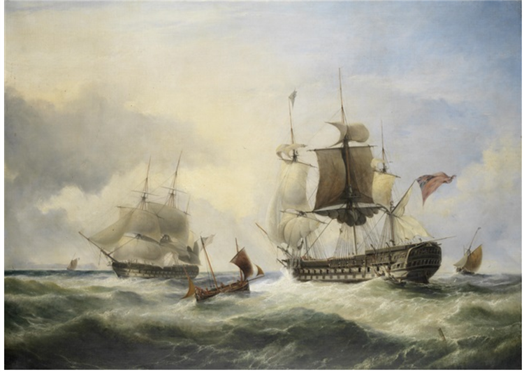 An English Fourth Rate Hove to for a Pilot in the Cannel, 1828 - George Philip Reinagle
