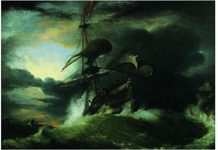 Navire Sur Une Mer Agitée - George Philip Reinagle