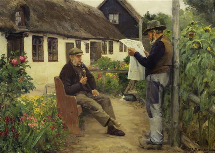 While Reading the Newspaper News, 1912 - Hans Andersen Brendekilde