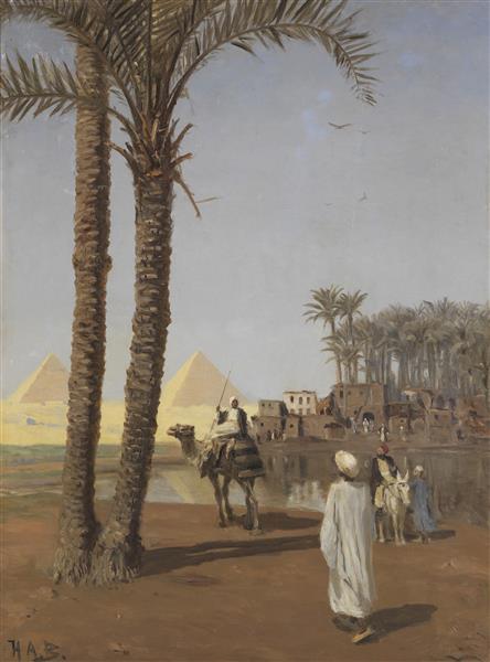 Orientalische Szene, Im Hintergrund Die Pyramiden Von Gizeh, c.1880 - Hans Andersen Brendekilde