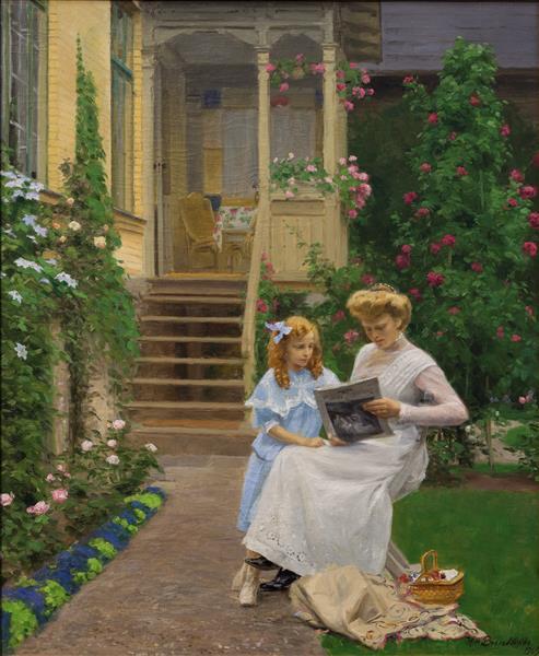 To Søstre I En Have, 1909 - Hans Andersen Brendekilde