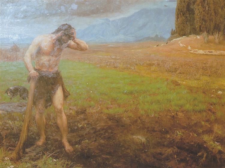 Kain Ved Sit Arbejde I Marken Efter at Have Ihjelslået Sin Broder Abel, 1896 - Hans Andersen Brendekilde