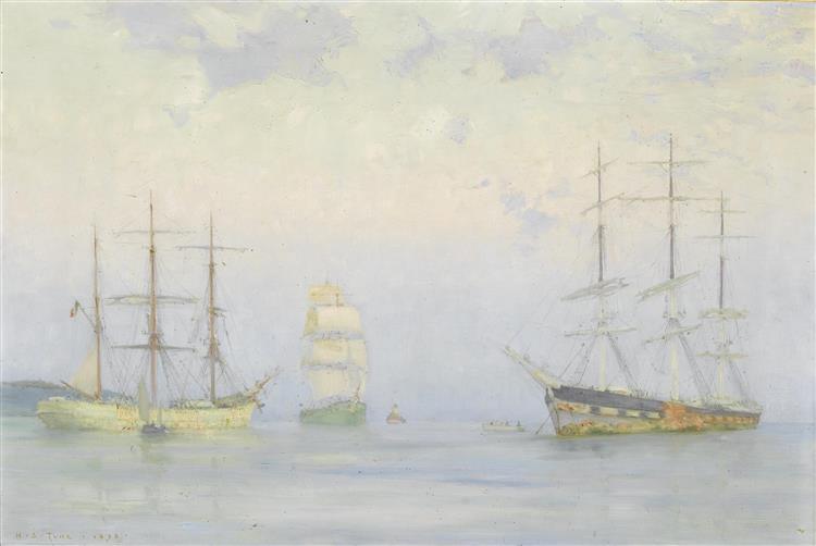 Shipping at Anchor, Carrick Roads - Henry Scott Tuke