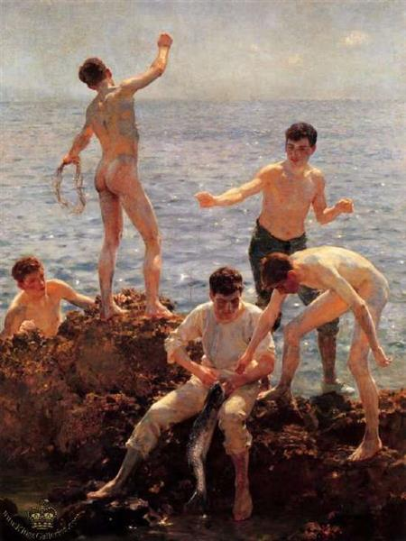 Midsummer Morning (lovers of the Sun), 1922 - Henry Scott Tuke