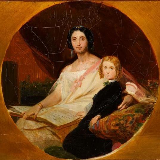 Portraits de la Duchesse d'Uzès, née Talhouët et De Son Fils Aînée, Jacques Emmanuel. - Léon Cogniet