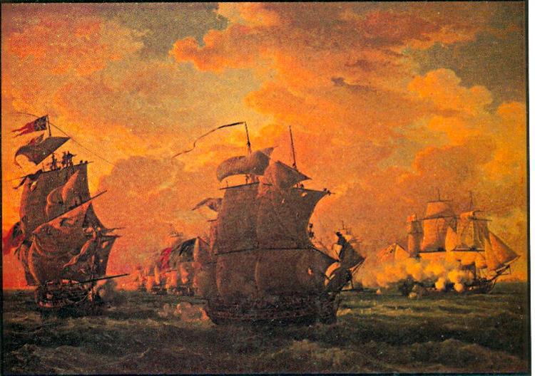 Combat De La Canonnière Contre Le Tremendous De 74 Canons Et L'hindoustan De 50 Canons. 21 Avril 1806 Au Large Du Cap Natal - Луи-Филипп Крепен
