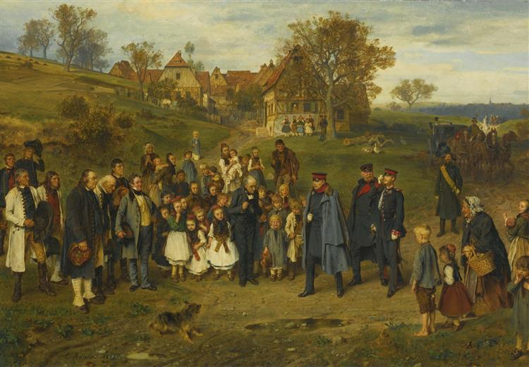 His Highness on a Journey. Spreading Peace (otto Von Bismarck and His Prussian Officers Touring a Village After the Austro-prussian War of 1866), 1867 - Ludwig Knaus
