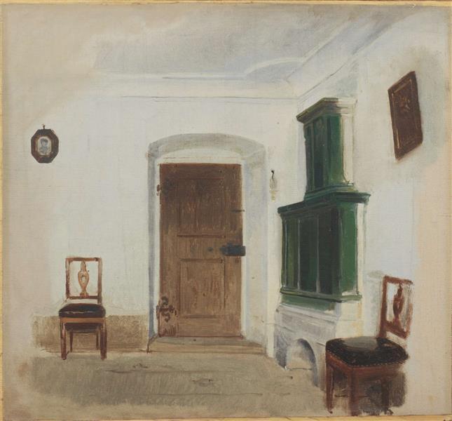 Interieur Mit Grünem Kachelofen, 1852 - Ludwig Knaus