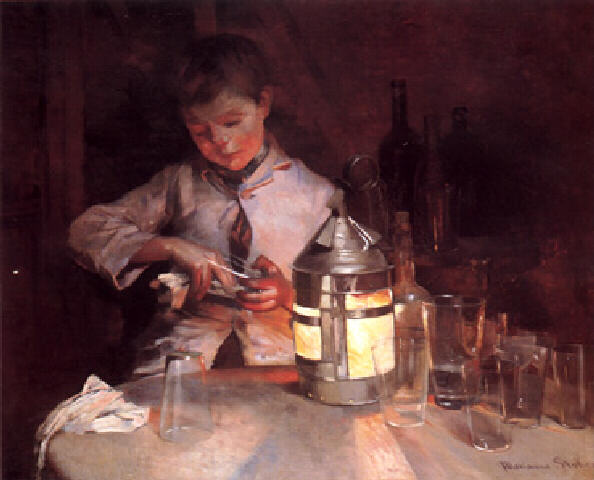 The Glass Cleaner, at Night - Marianne Stokes