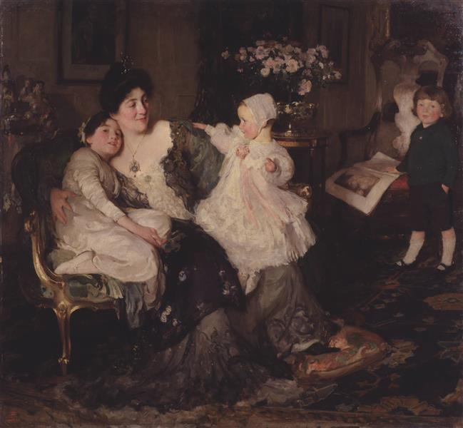 A Family Group, The Artist's Wife and Children, 'Papa Painting!', 1905 - Solomon Joseph Solomon