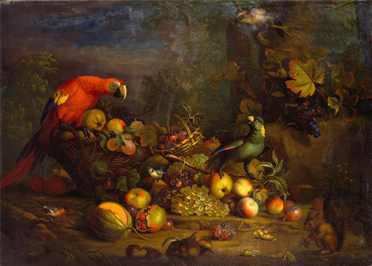 Parrots and Fruit with Other Birds and a Squirrel, c.1724 - Tobias Stranover