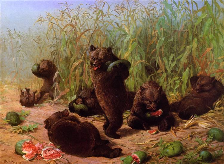 Bears in the Watermelon Patch, 1871 - William Holbrook Beard