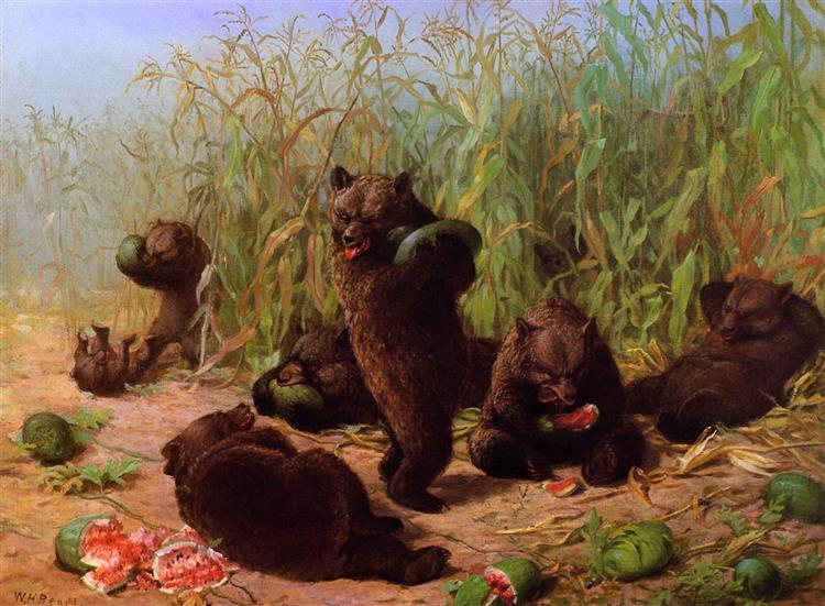 Bears in the Watermelon Patch, 1871 - Уильям Холбрук Бирд