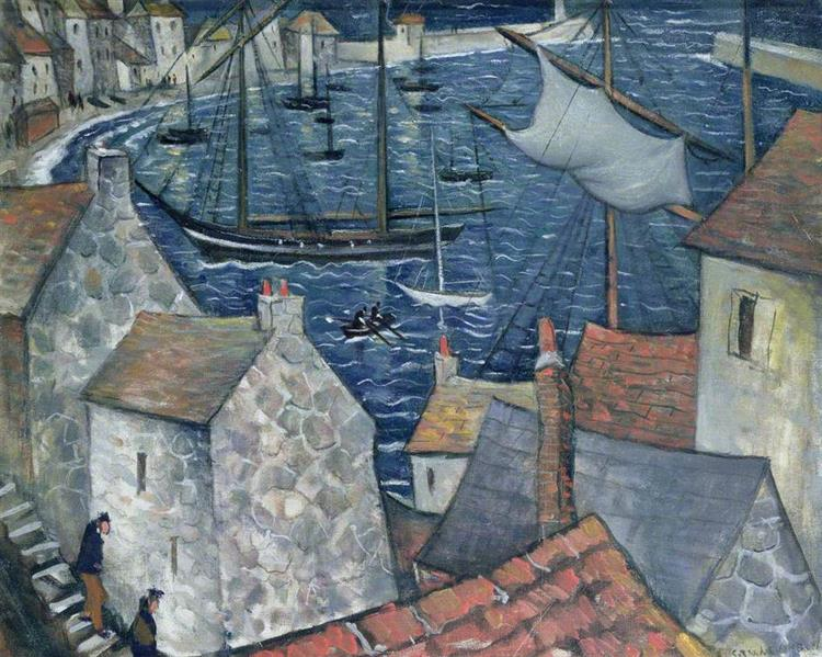 The Old Harbour - C. R. W. Nevinson