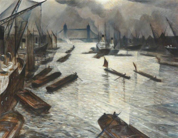 View on the Thames (Tower Bridge from the Pool of London), c.1930 - Christopher Nevinson