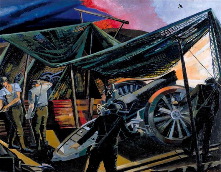 A Howitzer Firing, 1918 - Paul Nash