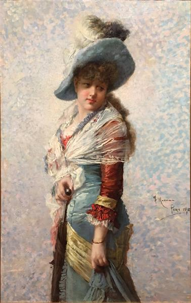 Portrait of a Woman with a Shawl, a Hat, and a Parasol, c.1877 - Francisco Masriera