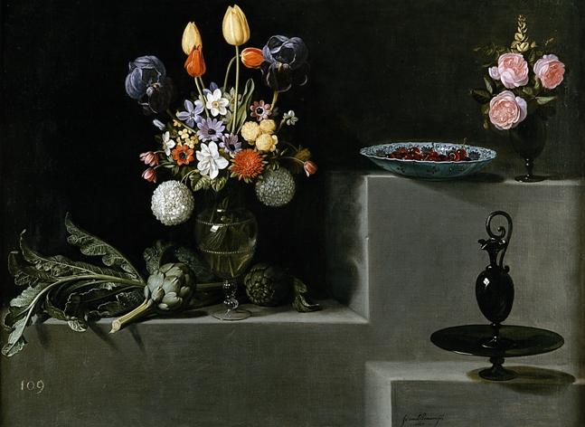 Still life with flowers, artichokes and glassware, 1627 - Juan van der Hamen