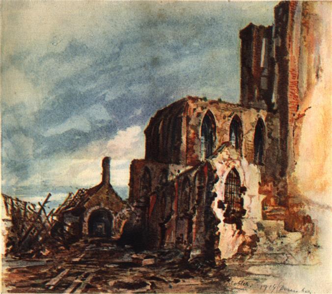 Ruin of a Monastery in Mesen, 1914 - Adolf Hitler