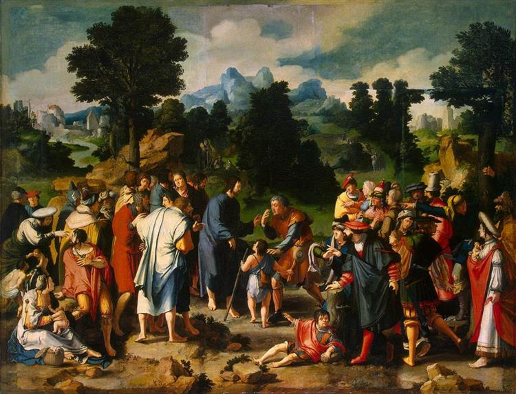 Christ Healing of blind man of Jericho, 1531 - Лукас ван Лейден