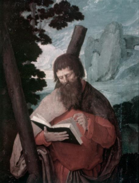 Saint Andrew in half figure, in front of a landscape, 1523 - Лукас ван Лейден