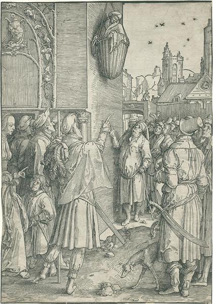 Virgil in The Basket, 1516 - Lucas van Leyden