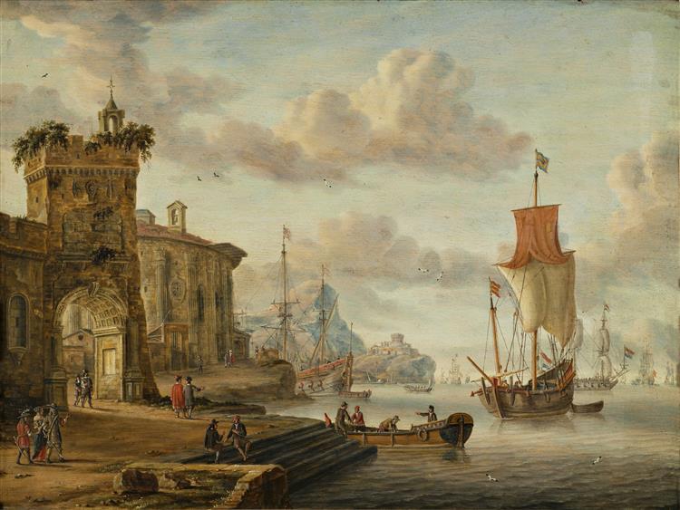 Havnescene Med Antikke Ruiner, 1666 - Abraham Storck
