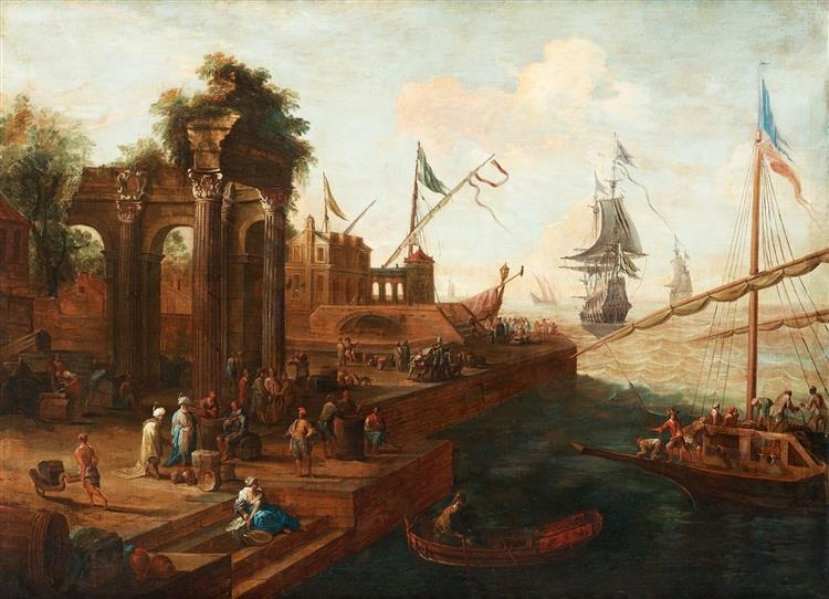 Southern Port with Figures and Ships - Abraham Storck