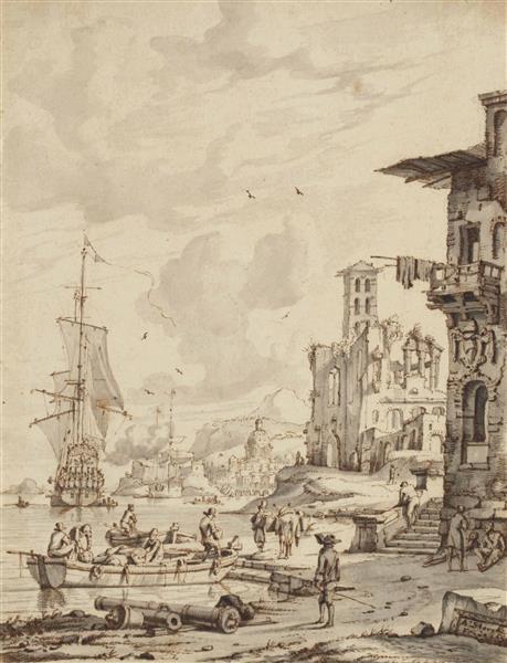 Bâteaux Et Personnages À L'entrée D'un Port, Le Dôme D'une Église À L'arrière-plan - Abraham Storck