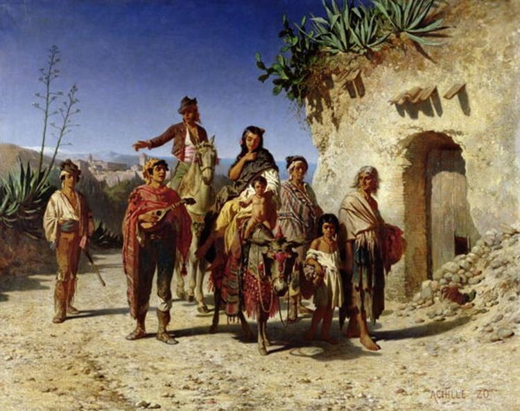A Gypsy Family on the Road, 1861 - Achille Zo