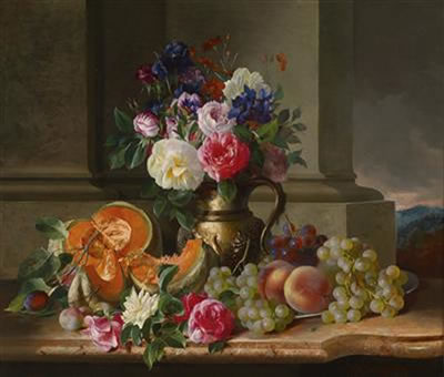 Rich Still Life with Flowers and Fruit - Adalbert Schaffer