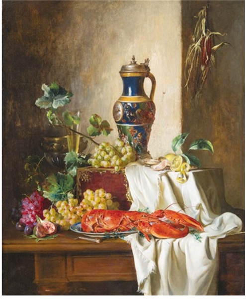 Still Life with Lobster, 1853 - Adalbert Schaffer