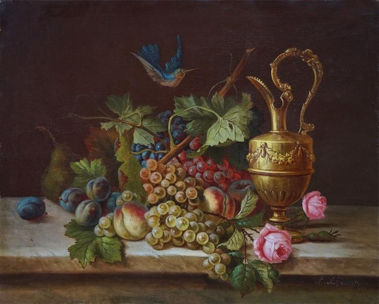 Stillleben Mit Früchten, Rosen, Prunkkelch Und Vogel, 1850 - Adalbert Schaffer