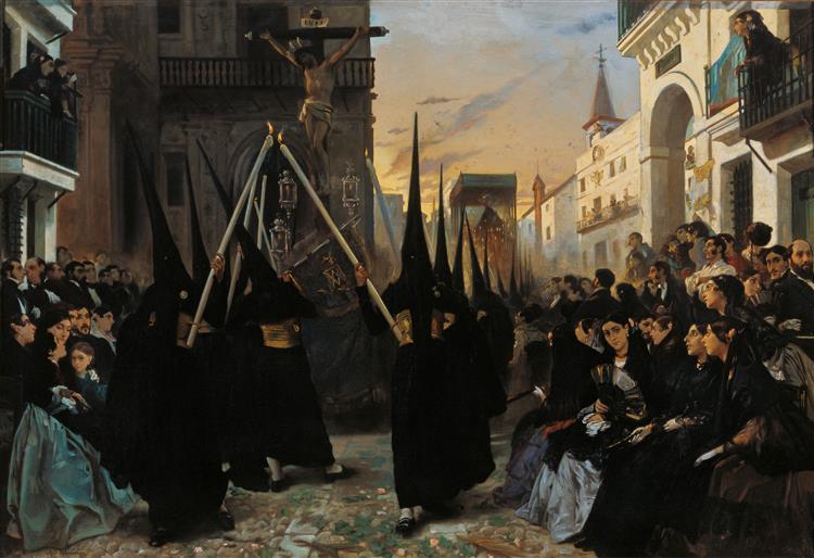 A Confraternity in Procession along Calle Génova - Alfred Dehodencq