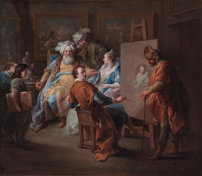 Pasha Having His Mistress's Portrait Painted, 1737 - Шарль Андре Ван Лоо