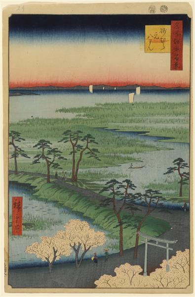 29. Moto Hachiman Shrine in Sunamura, 1857 - Utagawa Hiroshige