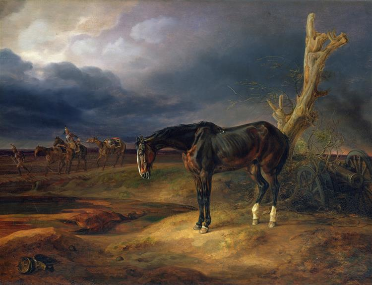 Ownerless Horse on the Battlefield at Moshaisk in 1812, 1834 - Albrecht Adam
