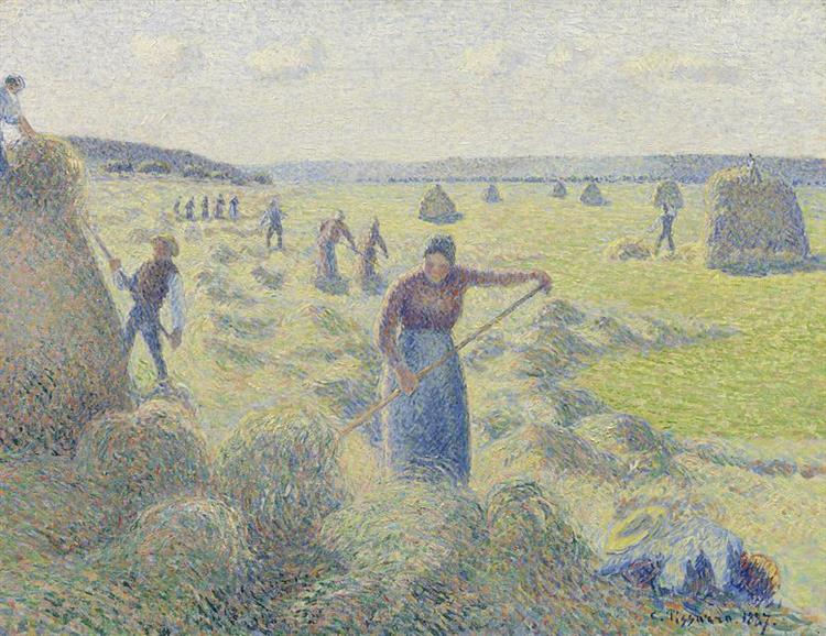 The Harvest of Hay in Eragny, 1887 - Камиль Писсарро