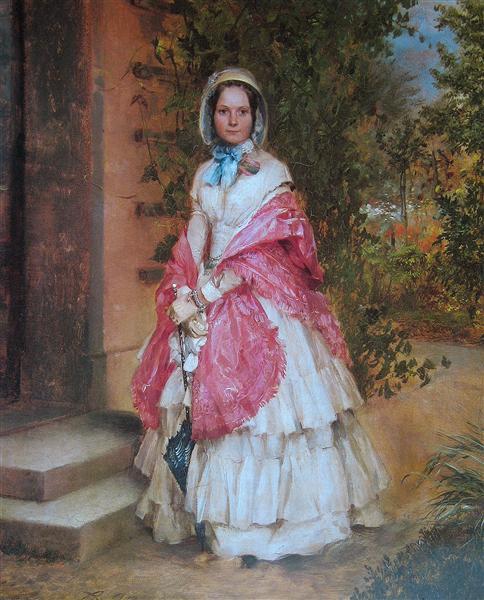 Clara Schmidt von Knobelsdorff ready to go out, 1848 - Адольф фон Менцель