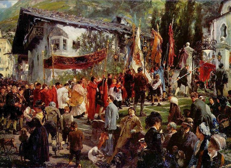 Fronleichnamsprozession in Hofgastein, 1880 - Adolph Menzel