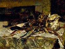 Still Life with Sardines and Sea-Urchins - Adolphe Joseph Thomas Monticelli