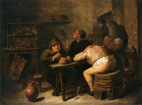 Interior with Smokers - Adriaen Brouwer