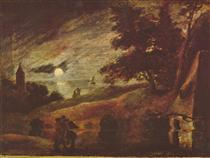 Moonlit landscape - Adriaen Brouwer
